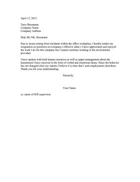 Resignation Due To Harassment Resignation Letter