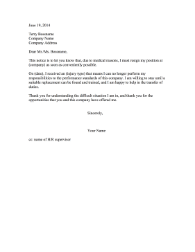Resignation Letter Injury Resignation Letter