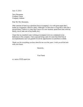 Resignation Letter Long Tenure Resignation Letter
