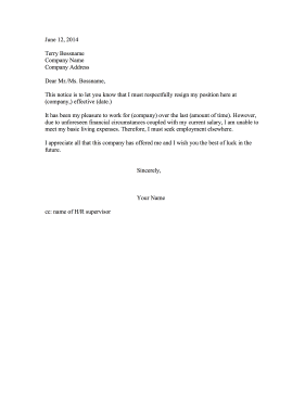 resignation letter low salary resignation letter