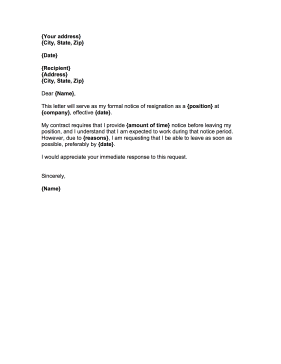 resignation letter notice period resignation letter