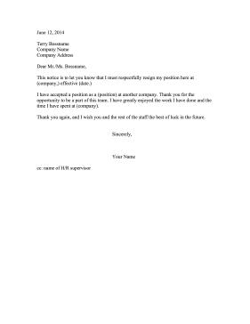 Resignation Letter Other Company Resignation Letter