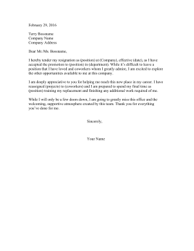 Resignation Letter Internal Promotion