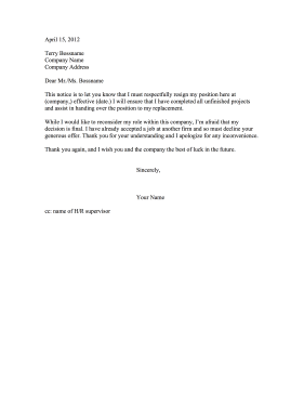 Refusing Counter Offer Resignation Letter