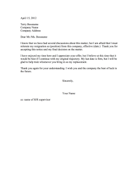 Refusing To Stay Resignation Letter