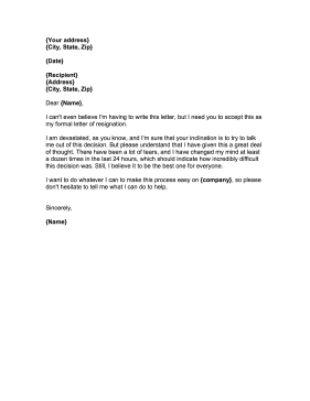 Resignation Letter with Regret Resignation Letter