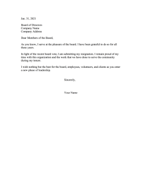 Resignation Letter To Board of Directors Resignation Letter