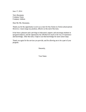 Resignation Letter Tutoring Program Resignation Letter
