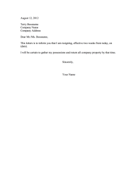 resignation letter two weeks notice