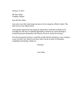 Notice Letter Example Carer