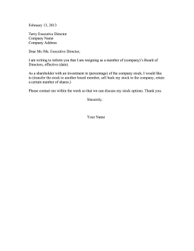 Shareholder Resignation Letter