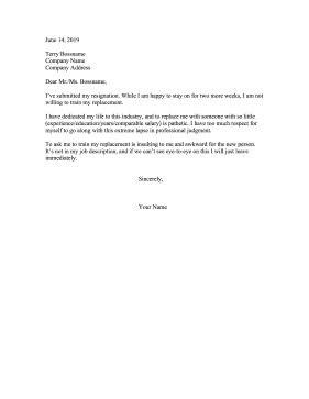Resignation Refusing To Train Replacement Resignation Letter