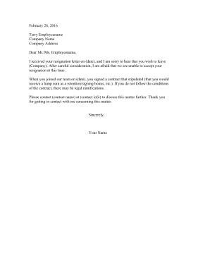Positive Resignation Rejection Letter Resignation Letter