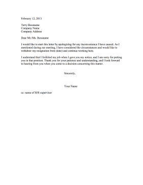 Resignation Retraction Changed Mind Resignation Letter