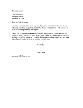 Resignation Retraction Convinced to Stay Resignation Letter