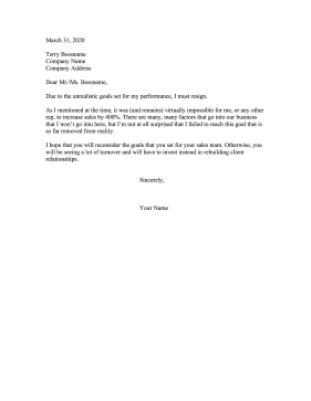 Resigning Due To Unrealistic Goals Resignation Letter