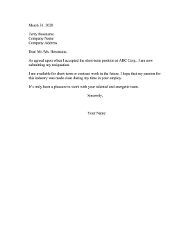 Resigning From Short Term Position Resignation Letter