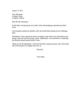 simple resignation letter for retail retail resignation letter 22338