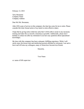 Good Retirement Resignation Letter Resignation Letter On Retirement Resignation Letter