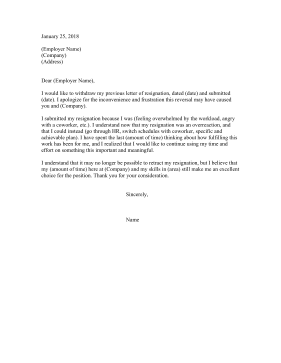Retracting Resignation Letter Long Resignation Letter