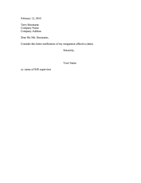 letter of resignation outline