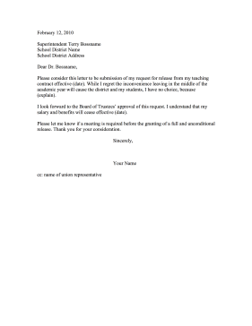 Teacher Resignation Letter Release From Contract Resignation Letter  Teacher Resignation Letter