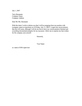 Club Resignation Letter Formal Resignation