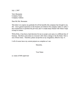 Gratitude  Letter Of Resignation Template Word Free