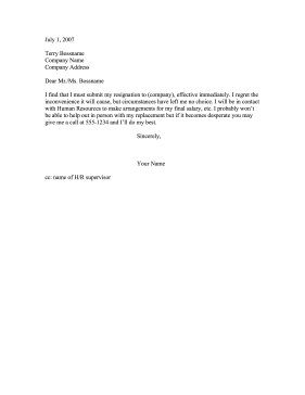 Resignation Letters  Immediate Resignation Letter