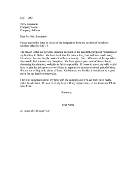 Resignation — Refusal to Relocate (Community Ties) Resignation Letter