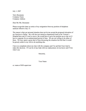 Resignation — Refusal to Relocate (Spouse's Job) Resignation Letter