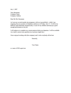 Resignation for Pregnancy Resignation Letter