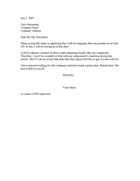Resignation for Retirement Resignation Letter