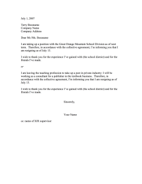 Teacher Resignation Resignation Letter