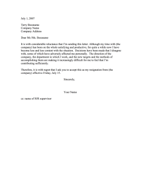 letter of resignation samples unhappy resignation due to unacceptable circumstances 23081