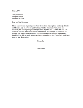 Resignation from Volunteer Position Resignation Letter